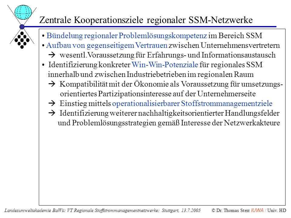 Zentrale Kooperationsziele regionaler SSM-Netzwerke Bündelung regionaler Problemlösungskompetenz im Bereich SSM Aufbau von gegenseitigem Vertrauen zwi