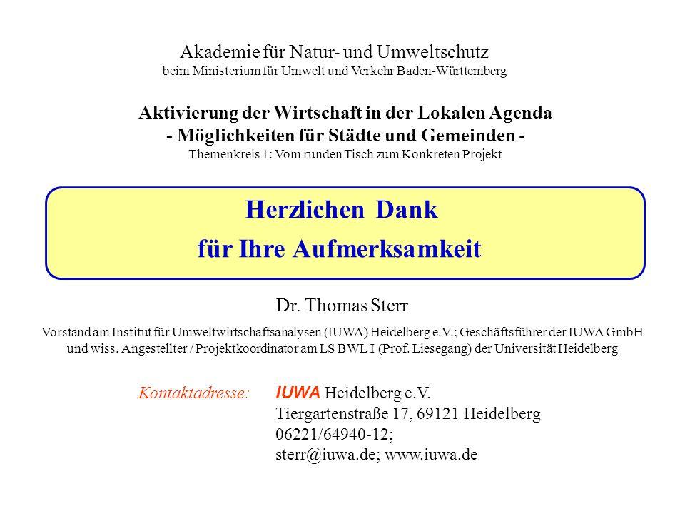 Herzlichen Dank für Ihre Aufmerksamkeit Dr. Thomas Sterr Vorstand am Institut für Umweltwirtschaftsanalysen (IUWA) Heidelberg e.V.; Geschäftsführer de