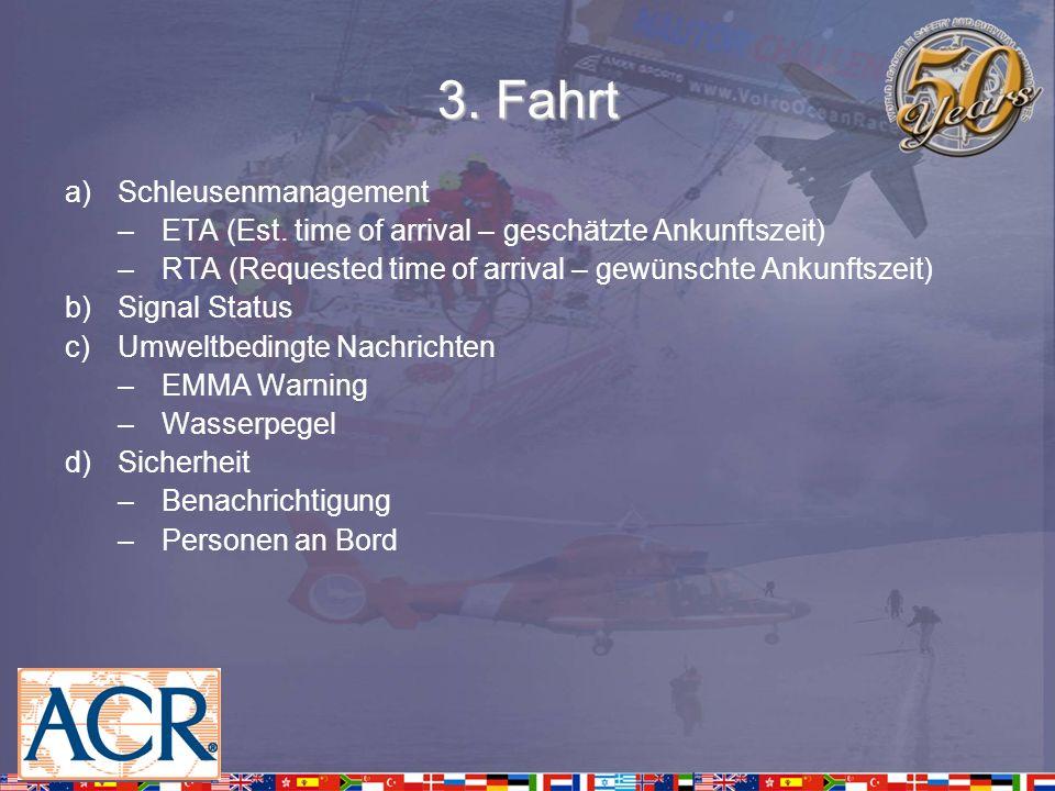 3. Fahrt a)Schleusenmanagement –ETA (Est. time of arrival – geschätzte Ankunftszeit) –RTA (Requested time of arrival – gewünschte Ankunftszeit) b)Sign