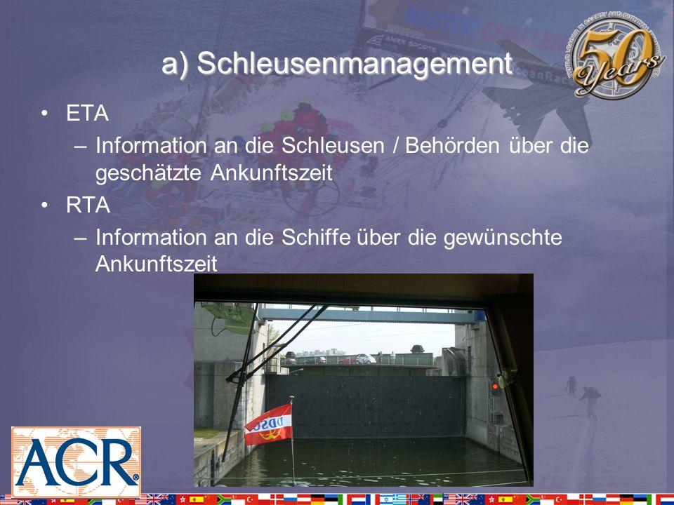 a) Schleusenmanagement ETA –Information an die Schleusen / Behörden über die geschätzte Ankunftszeit RTA –Information an die Schiffe über die gewünsch