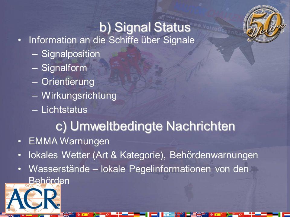 b) Signal Status Information an die Schiffe über Signale –Signalposition –Signalform –Orientierung –Wirkungsrichtung –Lichtstatus c) Umweltbedingte Na