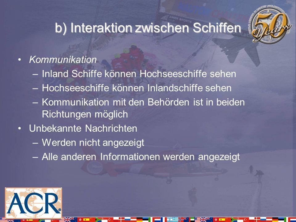 b) Interaktion zwischen Schiffen Kommunikation –Inland Schiffe können Hochseeschiffe sehen –Hochseeschiffe können Inlandschiffe sehen –Kommunikation m
