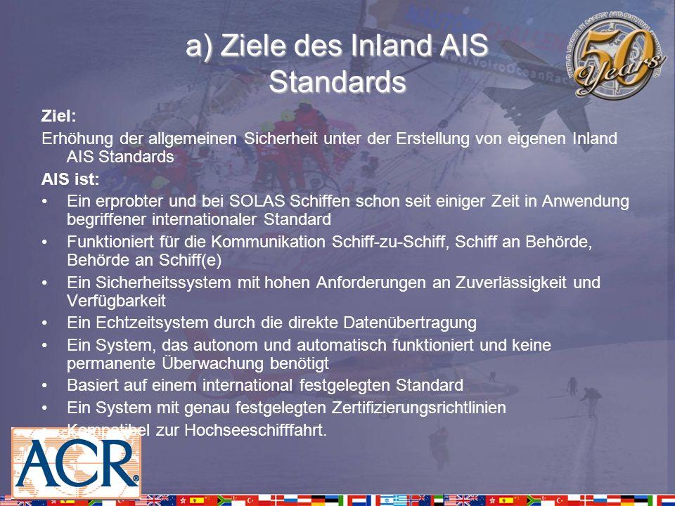 a) Ziele des Inland AIS Standards Ziel: Erhöhung der allgemeinen Sicherheit unter der Erstellung von eigenen Inland AIS Standards AIS ist: Ein erprobt