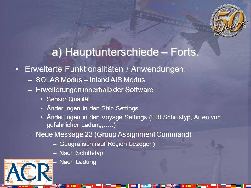 a) Hauptunterschiede – Forts. Erweiterte Funktionalitäten / Anwendungen: –SOLAS Modus – Inland AIS Modus –Erweiterungen innerhalb der Software Sensor