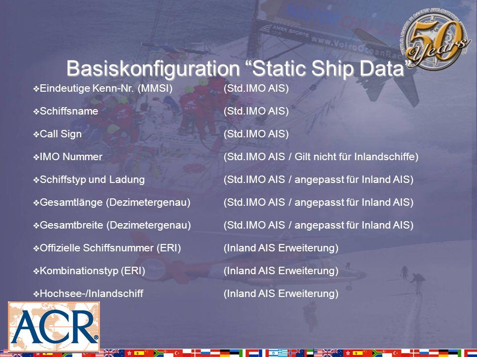 Voyage related Data – Reisebezogene Daten Anzahl der unterstützenden Schlepper(Inland AIS Erweiterung) Kategorie von gefährlicher Ladung (Standard IMO AIS) Klassifizierung von gefährlicher Ladung(Inland AIS Erweiterung) Maximale Höhe über Wasser (Standard IMO AIS) Höhe über Wasser(Inland AIS Erweiterung) Blue sign set(Inland AIS Erweiterung) Anzahl Personen an Bord(Standard IMO AIS) Anzahl Crewmitglieder an Bord(Inland AIS Erweiterung) Anzahl Passagiere an Bord(Inland AIS Erweiterung) Ziel (ERI Ort-Code)(Standard IMO AIS) Schleusen/Brücken/Terminal ID (UN/LOCODE)(Inland AIS Erweiterung)