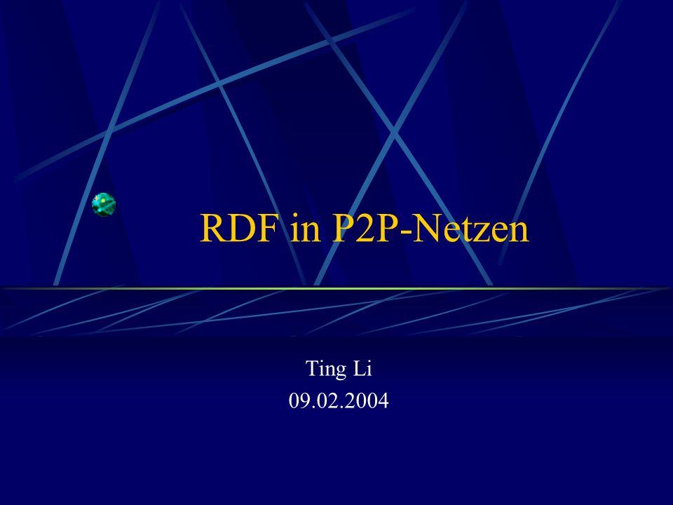 09.02.2004RDF in P2P-Netzen12 RDF Schemas Beispiel: Resource Hierarchy rdfs: subClassOf rdf: type rdfs:Resource xyz:MotorVehicle rdfs:Class xyz:MiniVan xyz:Truck xyz:Van xyz:PassengerVehicle