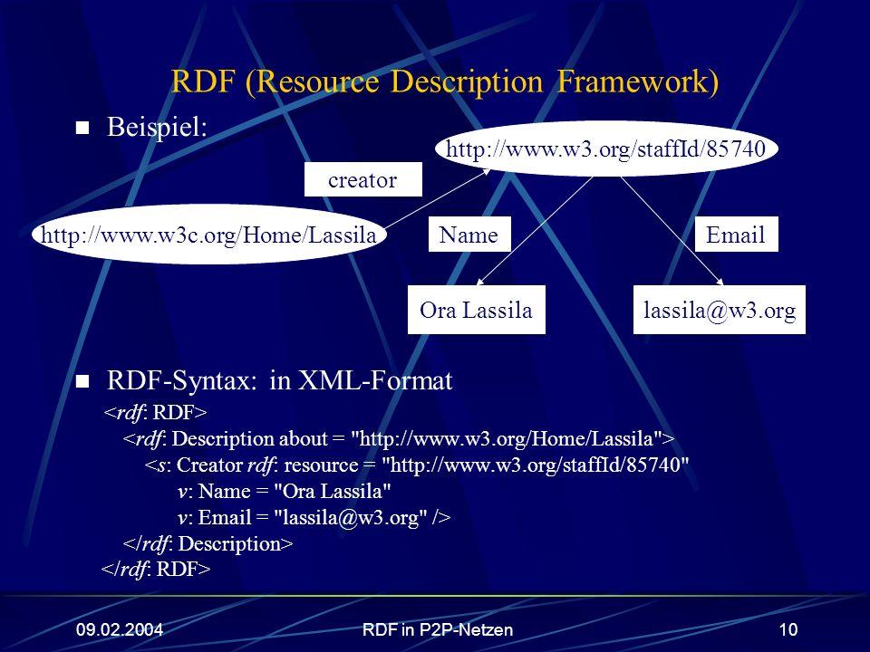 09.02.2004RDF in P2P-Netzen10 RDF (Resource Description Framework) Beispiel: RDF-Syntax: in XML-Format <s: Creator rdf: resource =