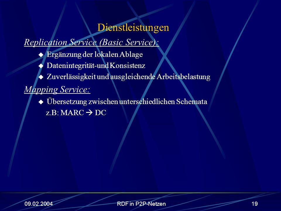 09.02.2004RDF in P2P-Netzen19 Dienstleistungen Replication Service (Basic Service): Ergänzung der lokalen Ablage Datenintegrität-und Konsistenz Zuverl