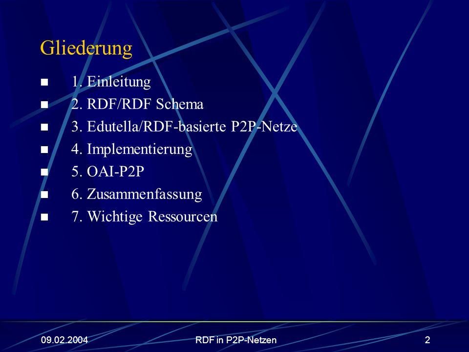 RDF in P2P-Netzen2 Gliederung 1. Einleitung 2. RDF/RDF Schema 3. Edutella/RDF-basierte P2P-Netze 4. Implementierung 5. OAI-P2P 6. Zusammenfassung 7. W