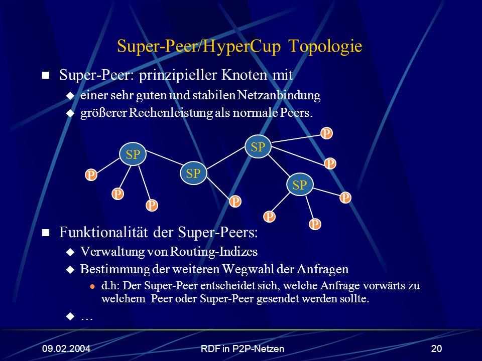 09.02.2004RDF in P2P-Netzen20 Super-Peer/HyperCup Topologie Super-Peer: prinzipieller Knoten mit einer sehr guten und stabilen Netzanbindung größerer