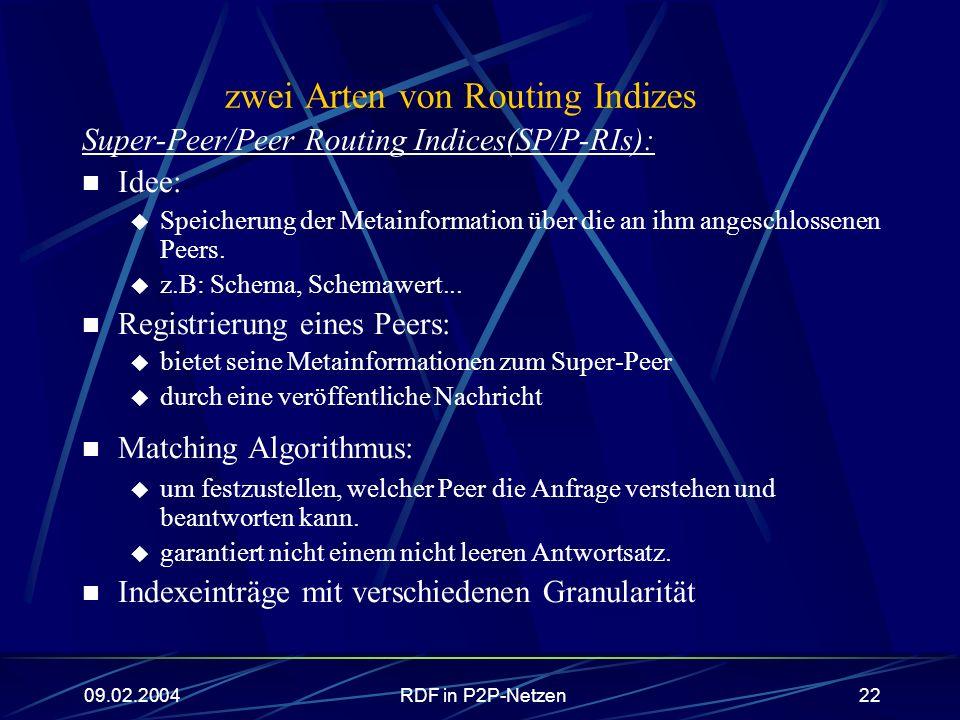 09.02.2004RDF in P2P-Netzen22 zwei Arten von Routing Indizes Super-Peer/Peer Routing Indices(SP/P-RIs): Idee: Speicherung der Metainformation über die