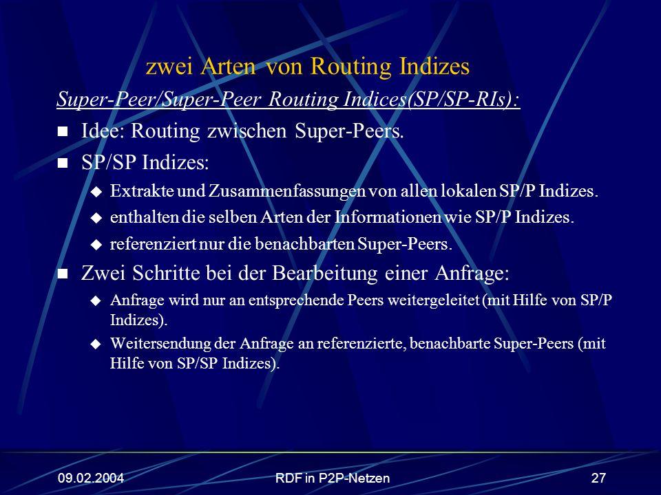 09.02.2004RDF in P2P-Netzen27 zwei Arten von Routing Indizes Super-Peer/Super-Peer Routing Indices(SP/SP-RIs): Idee: Routing zwischen Super-Peers. SP/