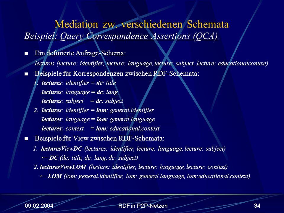 09.02.2004RDF in P2P-Netzen34 Mediation zw. verschiedenen Schemata Beispiel: Query Correspondence Assertions (QCA) Ein definierte Anfrage-Schema: lect