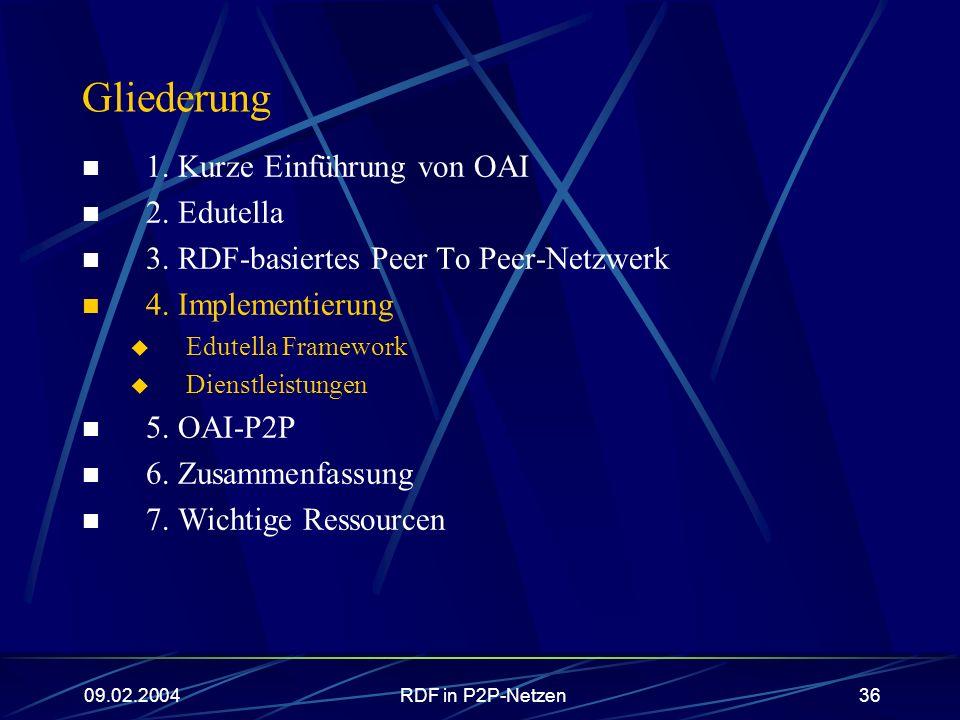 09.02.2004RDF in P2P-Netzen36 Gliederung 1. Kurze Einführung von OAI 2. Edutella 3. RDF-basiertes Peer To Peer-Netzwerk 4. Implementierung Edutella Fr