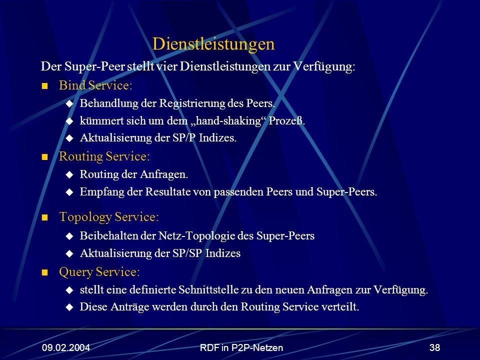 09.02.2004RDF in P2P-Netzen38 Dienstleistungen Der Super-Peer stellt vier Dienstleistungen zur Verfügung: Bind Service: Behandlung der Registrierung d