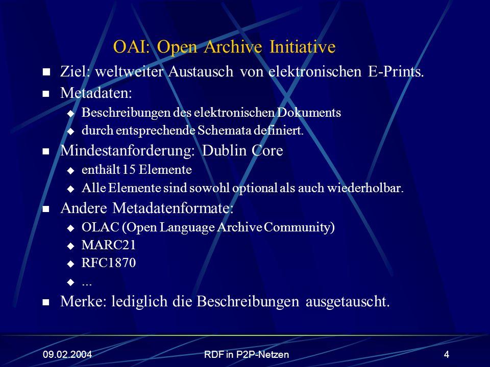 09.02.2004RDF in P2P-Netzen4 OAI: Open Archive Initiative Ziel: weltweiter Austausch von elektronischen E-Prints. Metadaten: Beschreibungen des elektr