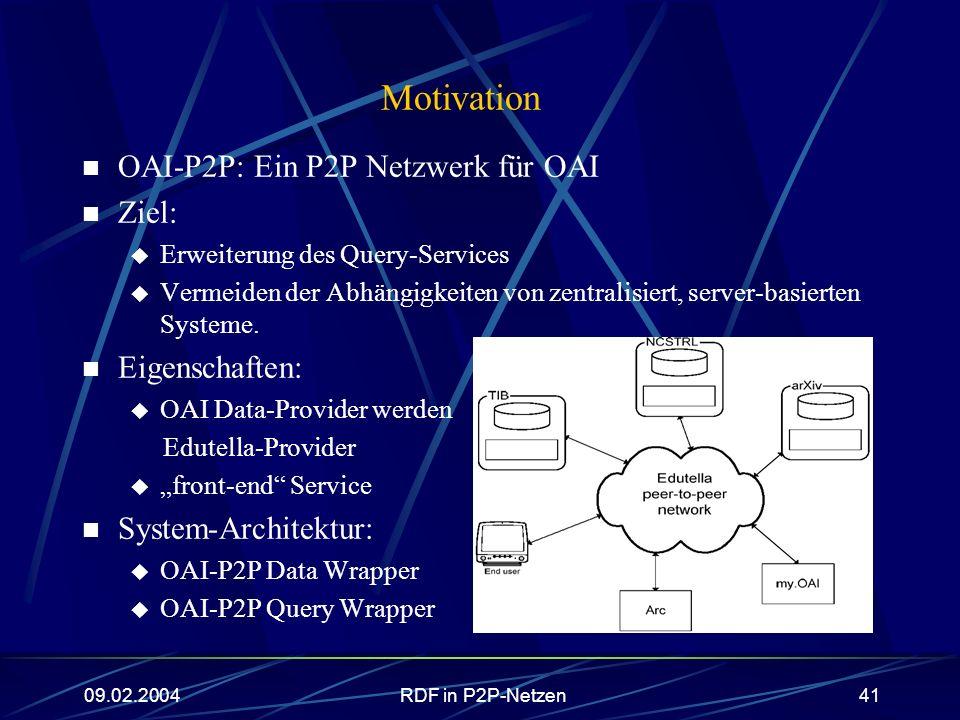 09.02.2004RDF in P2P-Netzen41 Motivation OAI-P2P: Ein P2P Netzwerk für OAI Ziel: Erweiterung des Query-Services Vermeiden der Abhängigkeiten von zentr
