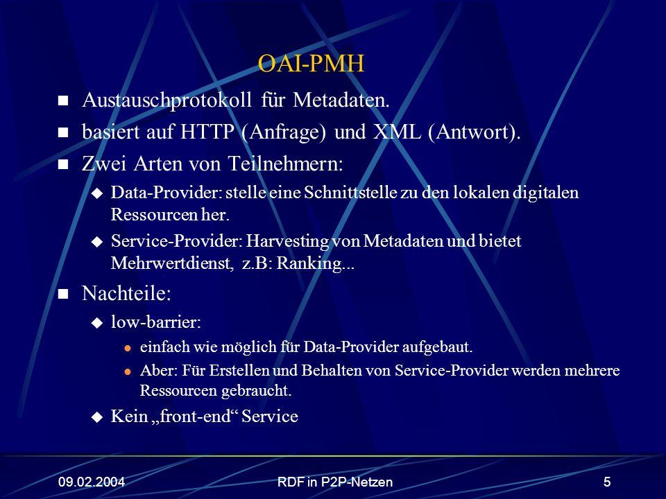 09.02.2004RDF in P2P-Netzen5 OAI-PMH Austauschprotokoll für Metadaten. basiert auf HTTP (Anfrage) und XML (Antwort). Zwei Arten von Teilnehmern: Data-