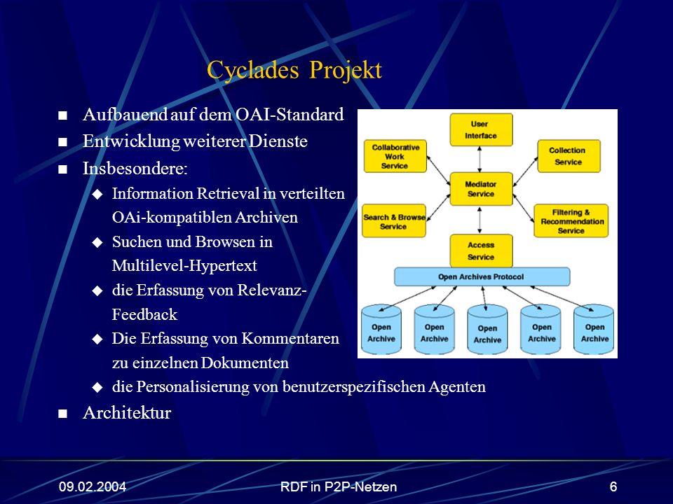 09.02.2004RDF in P2P-Netzen17 Dienstleistungen RDF-QEL: Aufteilung in 5 Sprachlevel, die in der Ausdrucksfähigkeit aufeinander aufbauen: RDF-QEL-1: Konjunktive Queries RDF-QEL-2: RDF-QEL-1 + Disjunktion RDF-QEL-3: RDF-QEL-2 + Negation + nicht rekursive Regeln (SQL92-Umfang, Datalog-Ansatz) RDF-QEL-4: RDF-QEL-3 + lineare Rekursion (SQL3-Umfang) RDF-QEL-5: RDF-QEL-4 + allgemeine Rekursion