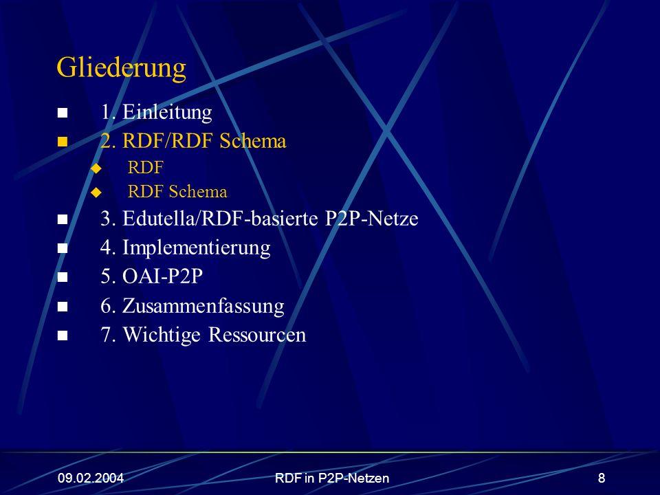 09.02.2004RDF in P2P-Netzen9 RDF (Resource Description Framework) vom W3C im Rahmen der Semantic Web-Initiative geförderte Beschreibungssprache Idee: aussagekräftige Beschreibungen von Ressourcen.