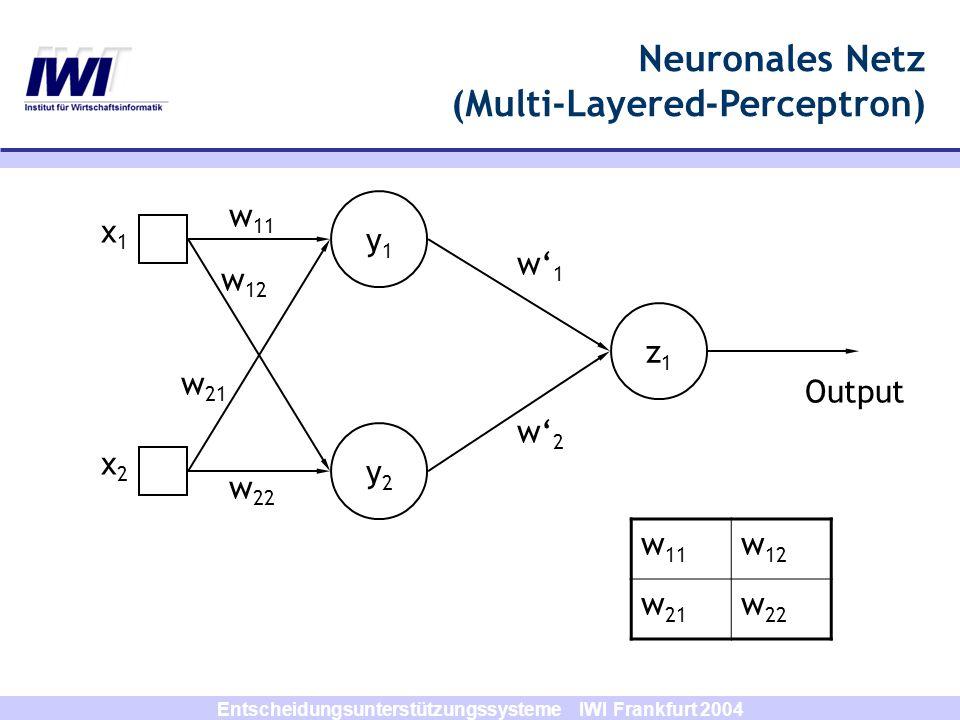 Entscheidungsunterstützungssysteme IWI Frankfurt 2004 y1y1 y2y2 z1z1 x1x1 x2x2 w1w1 w2w2 w 11 w 12 w 21 w 22 Output w 11 w 12 w 21 w 22 Neuronales Net