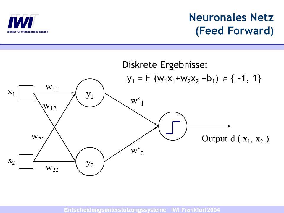 Entscheidungsunterstützungssysteme IWI Frankfurt 2004 y1y1 y2y2 x1x1 x2x2 w1w1 w2w2 Diskrete Ergebnisse: w 11 w 12 w 21 w 22 Output d ( x 1, x 2 ) y 1