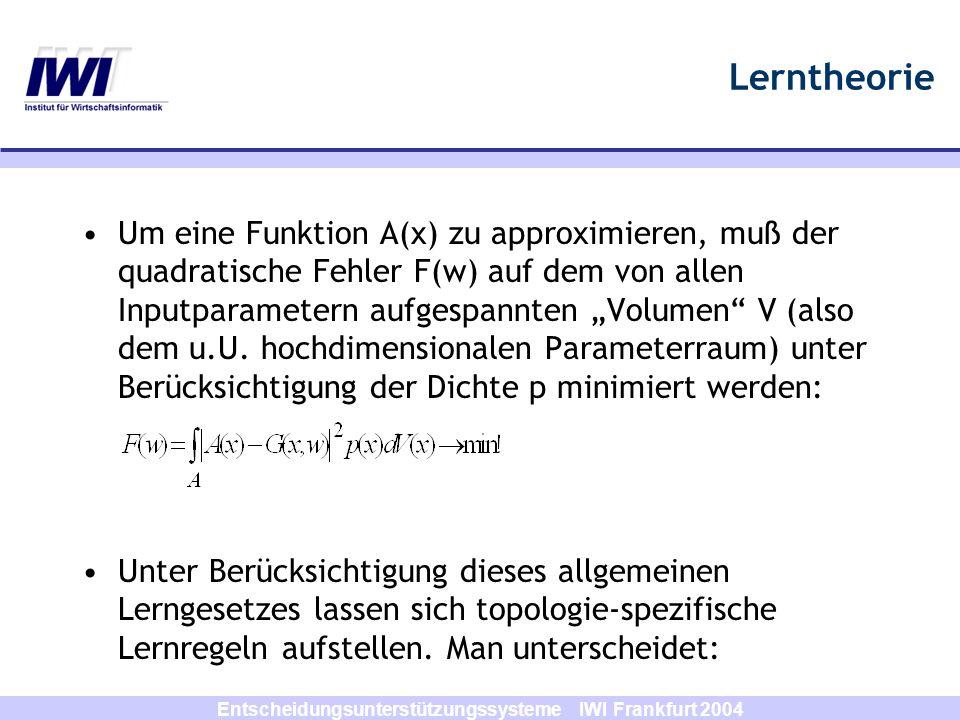 Entscheidungsunterstützungssysteme IWI Frankfurt 2004 Lerntheorie Um eine Funktion A(x) zu approximieren, muß der quadratische Fehler F(w) auf dem von