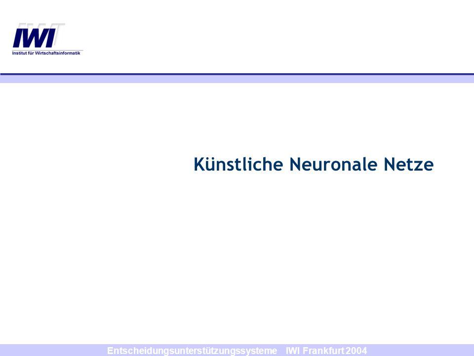 Entscheidungsunterstützungssysteme IWI Frankfurt 2004 y1y1 y2y2 x1x1 x2x2 w1w1 w2w2 Diskrete Ergebnisse: w 11 w 12 w 21 w 22 Output d ( x 1, x 2 ) y 1 = F (w 1 x 1 +w 2 x 2 +b 1 ) { -1, 1} Neuronales Netz (Feed Forward)