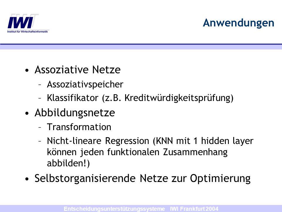 Entscheidungsunterstützungssysteme IWI Frankfurt 2004 Anwendungen Assoziative Netze –Assoziativspeicher –Klassifikator (z.B. Kreditwürdigkeitsprüfung)