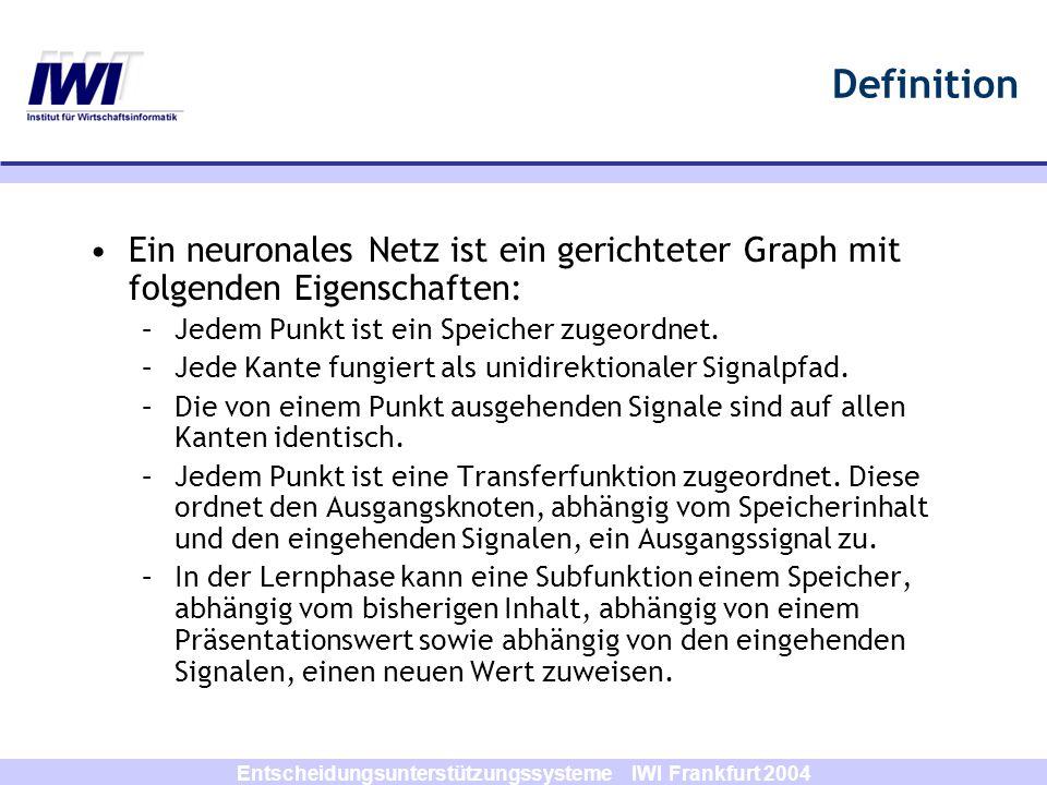 Entscheidungsunterstützungssysteme IWI Frankfurt 2004 Definition Ein neuronales Netz ist ein gerichteter Graph mit folgenden Eigenschaften: –Jedem Pun