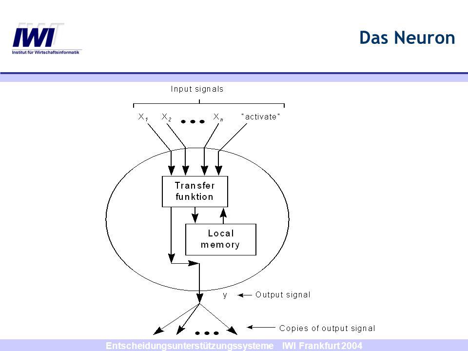 Entscheidungsunterstützungssysteme IWI Frankfurt 2004 Eigenschaften der KNN Lernfähigkeit Verallgemeinerungsfähigkeit Assoziationsfähigkeit Robustheit Massiv parallele Informationsverarbeitung