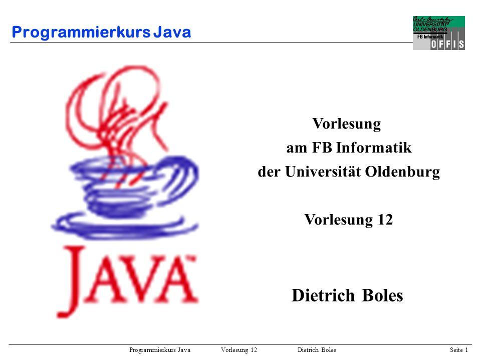 Programmierkurs Java Vorlesung 12 Dietrich Boles Seite 2 Gliederung von Vorlesung 12 Abstrakte Klassen –Motivation –Definition –Beispiel Interfaces –Definition –Beispiel –Vergleich zu abstrakten Klassen Subobjekte –Beispiel –Komposition / Aggregation –Delegation –Mehrfachvererbung Beispiele