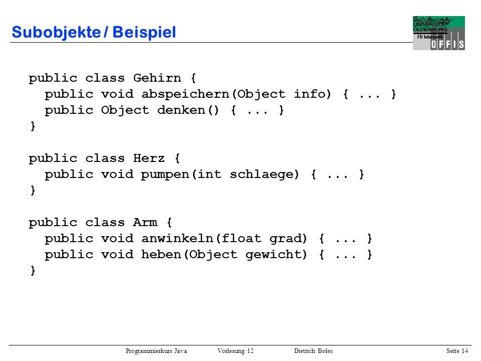 Programmierkurs Java Vorlesung 12 Dietrich Boles Seite 15 Subobjekte / Beispiel public class Mensch { Herz herz; // Subobjekt Gehirn gehirn; // exklusives Subobjekt Arm[] arme; // mehrere Subobjekte public Mensch() { this.gehirn = new Gehirn(); this.herz = new Herz(); this.arme = new Arm[2]; this.arme[0] = new Arm(); this.arme[1] = new Arm(); } public Object denken() { return this.gehirn.denken(); } public void sportTreiben() { this.herz.pumpen(180); } public void schlafen() { this.herz.pumpen(50); }