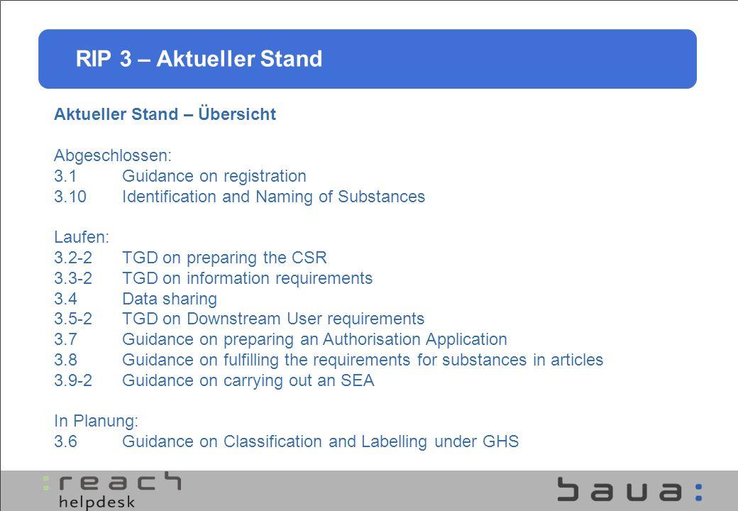 Aktueller Stand – Übersicht Abgeschlossen: 3.1Guidance on registration 3.10Identification and Naming of Substances Laufen: 3.2-2TGD on preparing the C