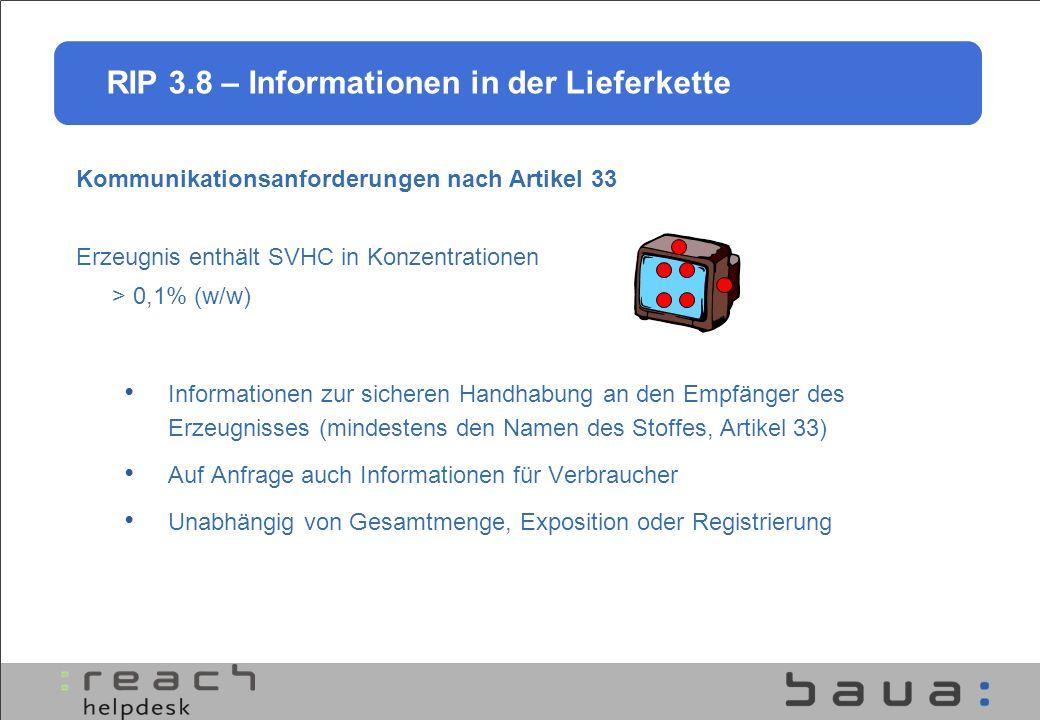 RIP 3.8 – Informationen in der Lieferkette Kommunikationsanforderungen nach Artikel 33 Erzeugnis enthält SVHC in Konzentrationen > 0,1% (w/w) Informat