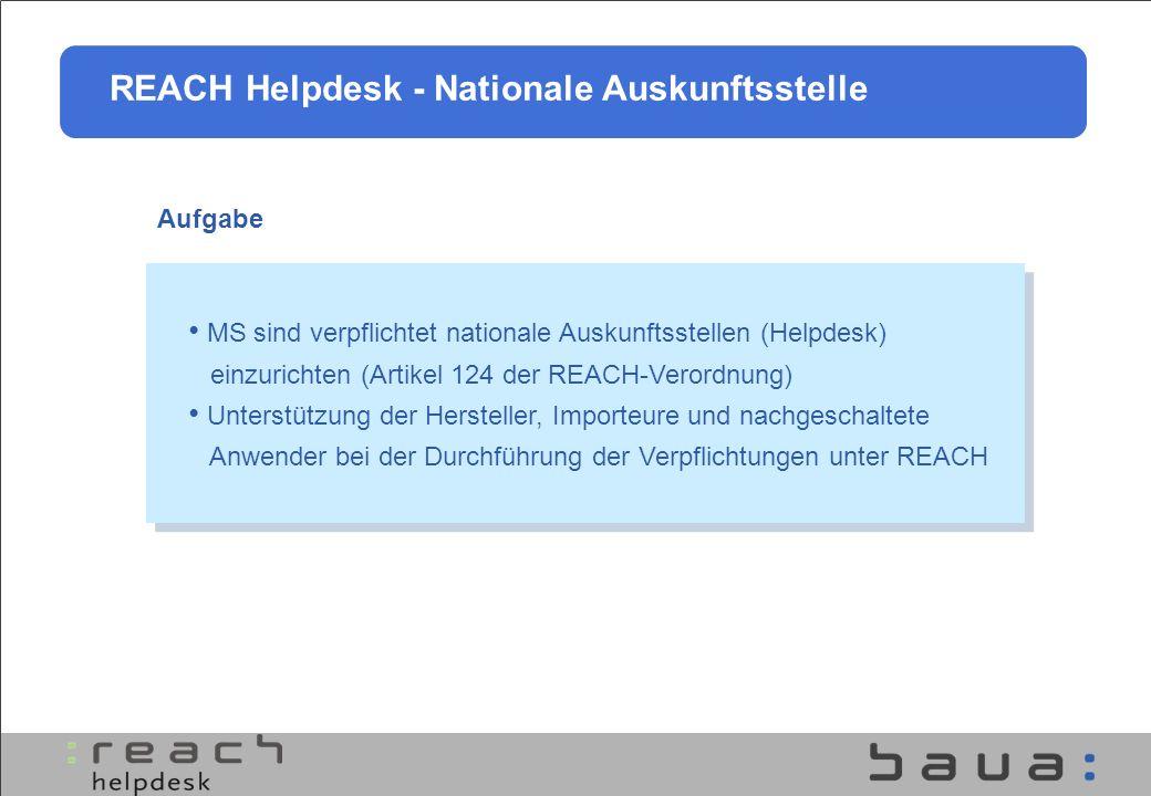 Aufgabe MS sind verpflichtet nationale Auskunftsstellen (Helpdesk) einzurichten (Artikel 124 der REACH-Verordnung) Unterstützung der Hersteller, Impor