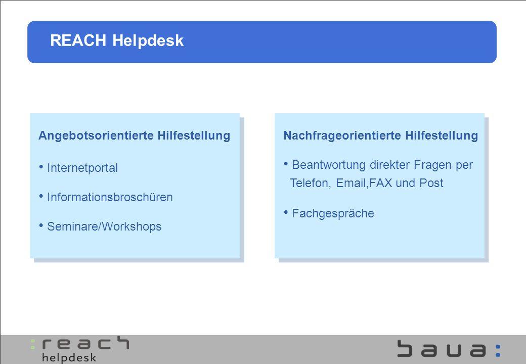 Angebotsorientierte Hilfestellung Internetportal Informationsbroschüren Seminare/Workshops REACH Helpdesk Nachfrageorientierte Hilfestellung Beantwort