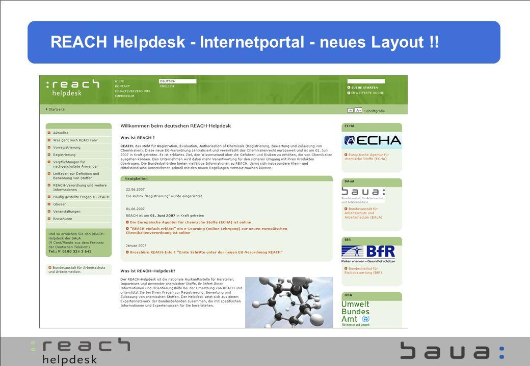 REACH Helpdesk - Internetportal - neues Layout !!