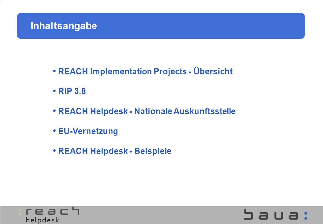 Bundes Helpdesk Experten der Bundesbehörden BAuA, BfR, UBA, BAM EU-Helpdesk Netzwerk Nachfrageorientierte Hilfestellung Angebotsorientierte Hilfestellung REACH Helpdesk
