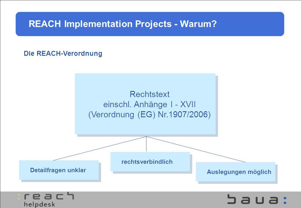 rechtsverbindlich Detailfragen unklar Auslegungen möglich Rechtstext einschl. Anhänge I - XVII (Verordnung (EG) Nr.1907/2006) REACH Implementation Pro