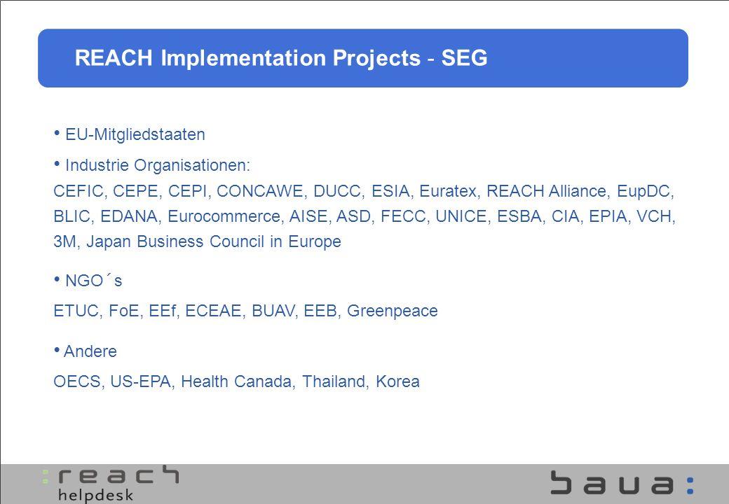EU-Vernetzung - das REACH Help Net Mitglieder REACH Helpdesk der Agentur 27 Helpdesks der Mitgliedstaaten Ziele Harmonisierung der Antworten Klärung schwieriger Fragen