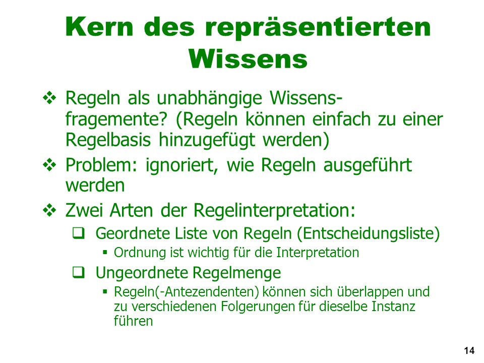 14 Kern des repräsentierten Wissens Regeln als unabhängige Wissens- fragemente.