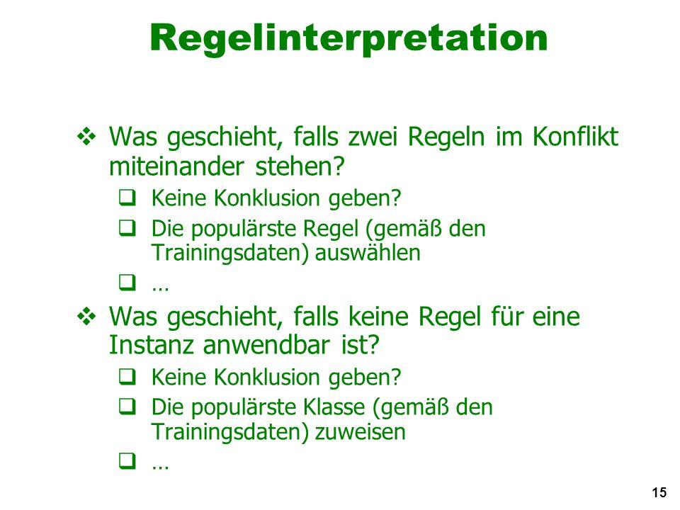 15 Regelinterpretation Was geschieht, falls zwei Regeln im Konflikt miteinander stehen.