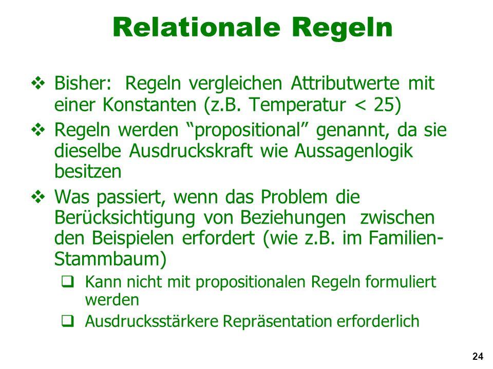 24 Relationale Regeln Bisher: Regeln vergleichen Attributwerte mit einer Konstanten (z.B.