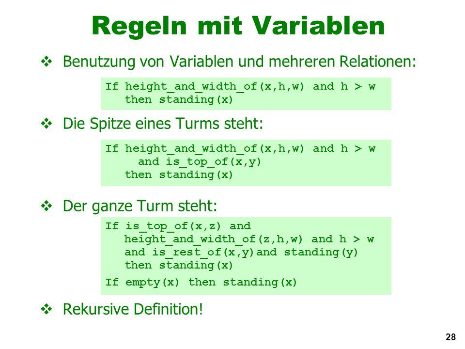28 Regeln mit Variablen Benutzung von Variablen und mehreren Relationen: Die Spitze eines Turms steht: Der ganze Turm steht: Rekursive Definition.