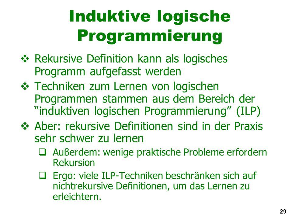 29 Induktive logische Programmierung Rekursive Definition kann als logisches Programm aufgefasst werden Techniken zum Lernen von logischen Programmen stammen aus dem Bereich der induktiven logischen Programmierung (ILP) Aber: rekursive Definitionen sind in der Praxis sehr schwer zu lernen Außerdem: wenige praktische Probleme erfordern Rekursion Ergo: viele ILP-Techniken beschränken sich auf nichtrekursive Definitionen, um das Lernen zu erleichtern.