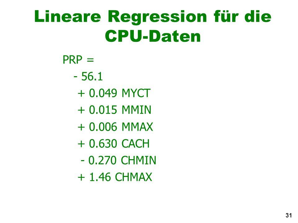 31 Lineare Regression für die CPU-Daten PRP = - 56.1 + 0.049 MYCT + 0.015 MMIN + 0.006 MMAX + 0.630 CACH - 0.270 CHMIN + 1.46 CHMAX