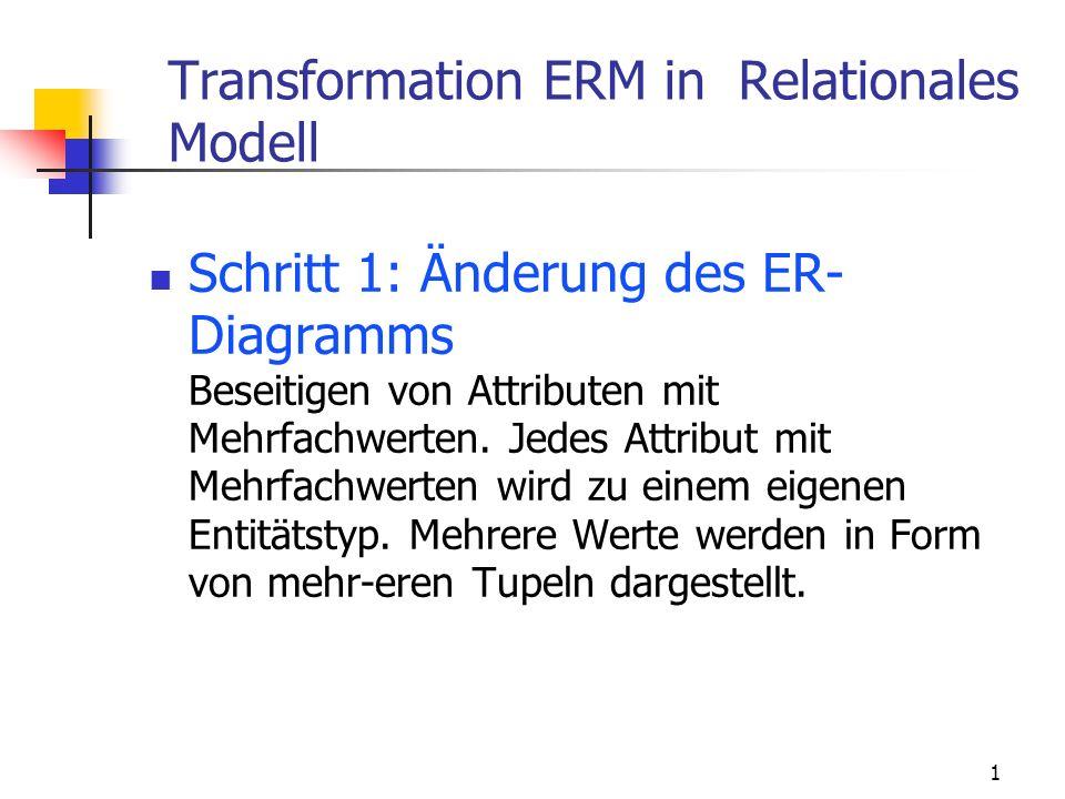 1 Schritt 1: Änderung des ER- Diagramms Beseitigen von Attributen mit Mehrfachwerten. Jedes Attribut mit Mehrfachwerten wird zu einem eigenen Entitäts