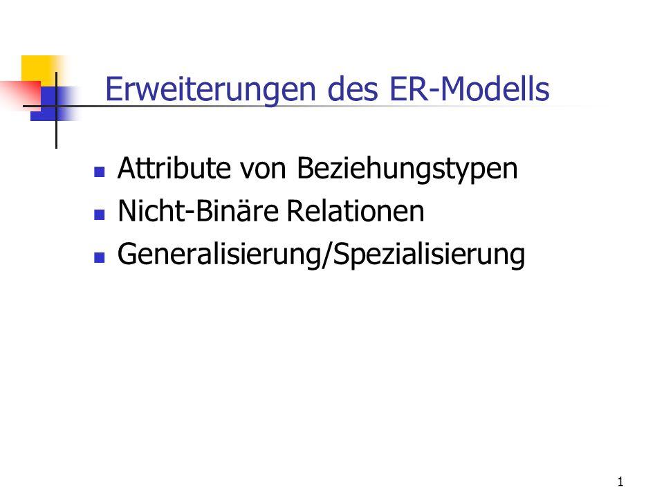 1 Erweiterungen des ER-Modells Attribute von Beziehungstypen Nicht-Binäre Relationen Generalisierung/Spezialisierung