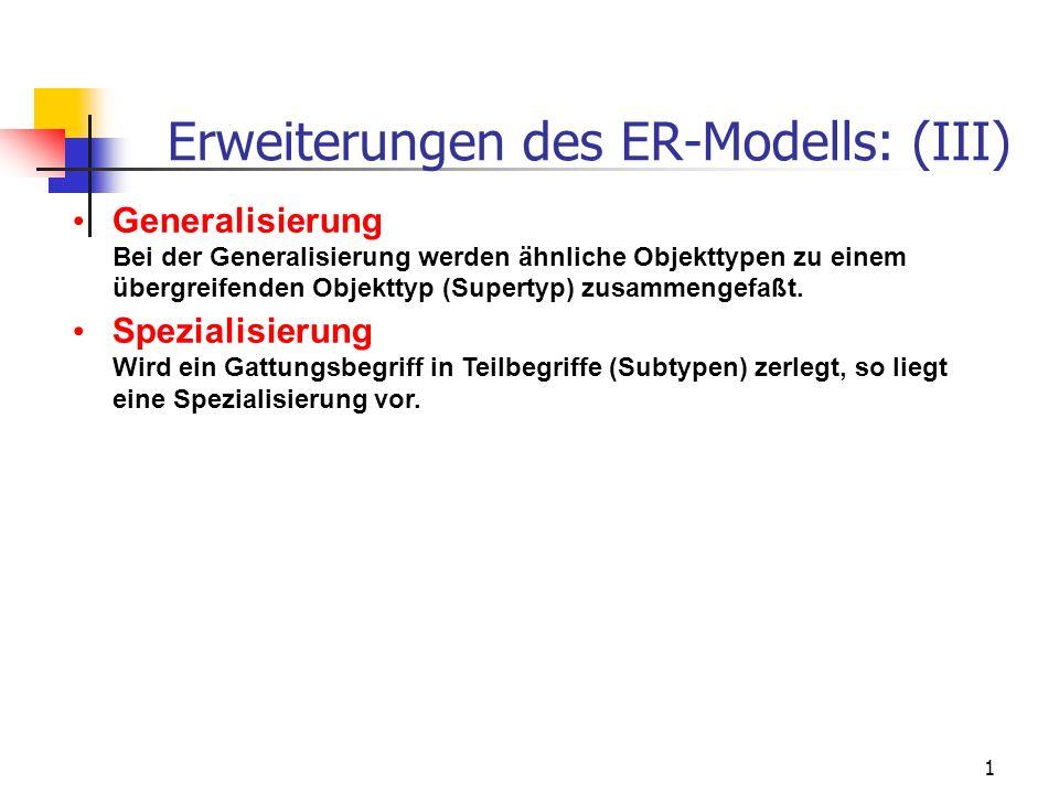 1 Erweiterungen des ER-Modells: (III) Generalisierung Bei der Generalisierung werden ähnliche Objekttypen zu einem übergreifenden Objekttyp (Supertyp) zusammengefaßt.